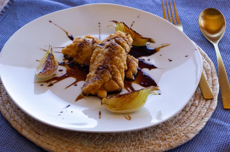 Lubina frita con salsa teriyaki